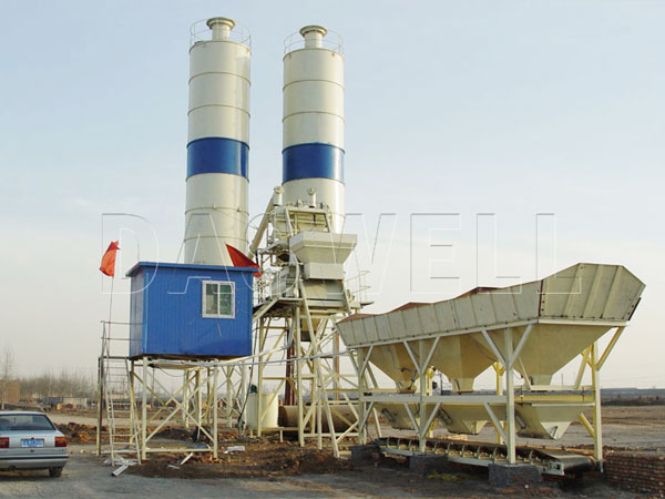 HZS35 stationary concrete batch mix plant