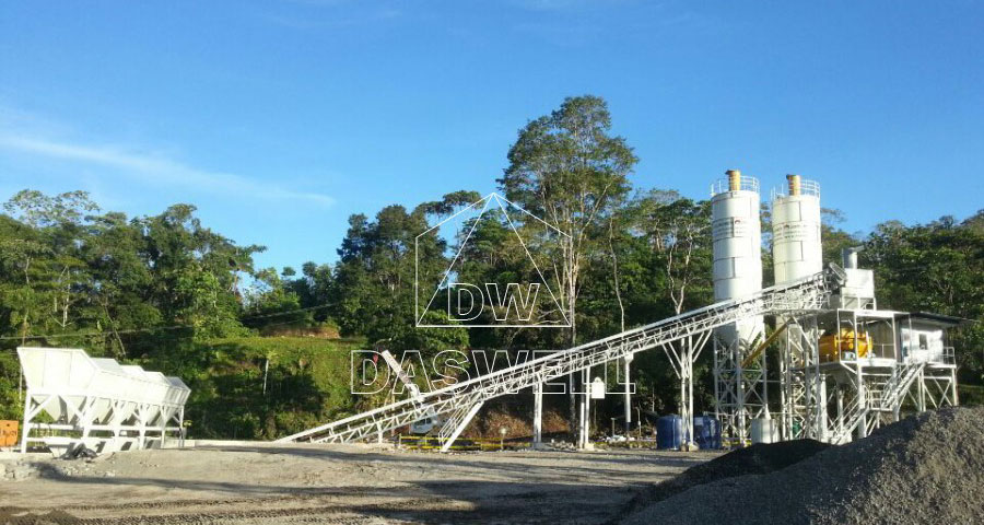 HZS90 stationary concrete bathing plant in Philippines