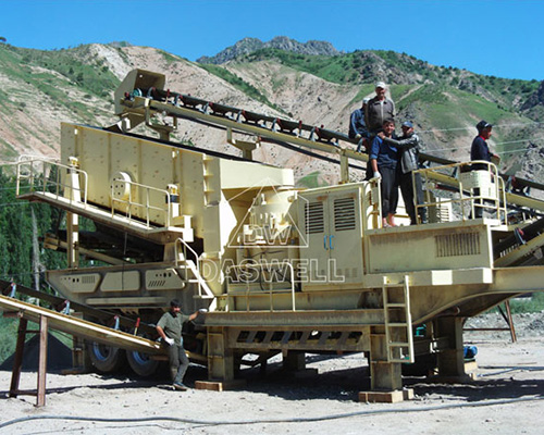 moible crushing plant in construction site
