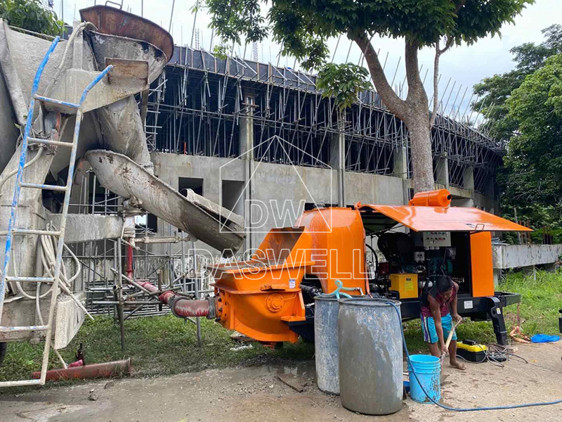 stationary concrete pump in construction site
